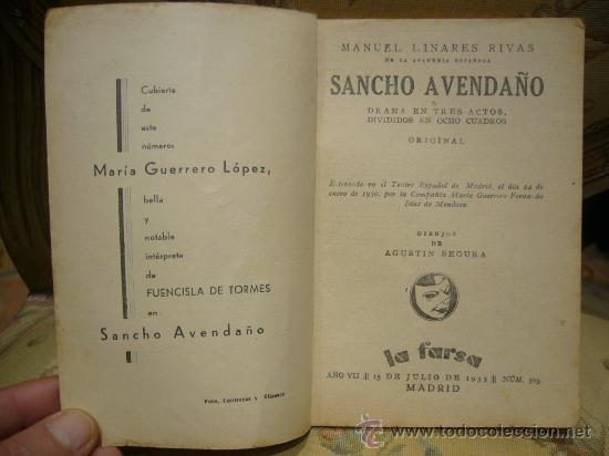 Libros antiguos: SANCHO AVENDAÑO DE MANUEL LINARES RIVAS. LA FARSA Nº 305. 1.933. - Foto 3 - 35099722