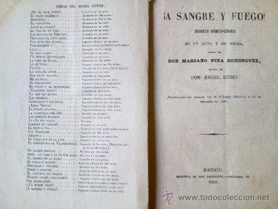 LIBRO ADMINISTRACION LIRICO -DRAMATICA ¡A SANGRE Y FUEGO! JUGUETE COMICO LIRICO.AÑO 1880 MADRID EN U (Libros antiguos (hasta 1936), raros y curiosos - Literatura - Teatro)
