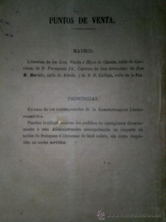 Libros antiguos: LIBRO ADMINISTRACION LIRICO -DRAMATICA ¡A SANGRE Y FUEGO! JUGUETE COMICO LIRICO.AÑO 1880 MADRID EN U - Foto 2 - 35451516