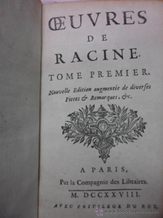 Libros antiguos: Ouvres de Racine (Tomos I y II ). Obra completa. 1728, Jean Racine, Contienen 2 Frontispicios y 13 g - Foto 5 - 39219270
