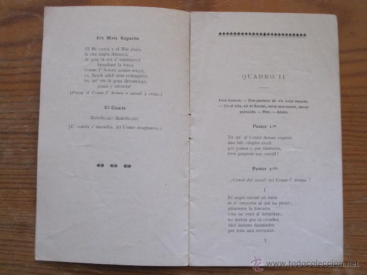 Libros antiguos: JOSEP CARNER - EL COMTE L'ARNAU. VISIO LLEGENDARIA - 1905 - TEXT DE MA DEL TEATRE PRINCIPAL GRANER - Foto 3 - 55947612