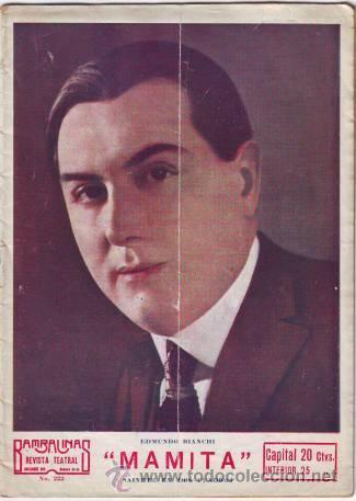 BIANCHI, EDMUNDO: MAMITA. SAINETE EN DOS CUADROS. (Libros antiguos (hasta 1936), raros y curiosos - Literatura - Teatro)