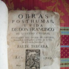 Libros antiguos: 1729-OBRAS DE DON FRANCISCO DE QUEVEDO Y VILLEGAS.CABALLERO DE SANTIAGO.TEATRO.ORIGINAL. Lote 47612312