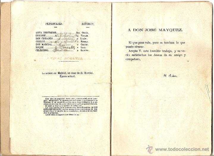 Libros antiguos: SALVARSE EN UNA TABLA - SALVADOR LASTRA - JUGUETE CÓMICO EN UN ACTO Y EN PROSA - AÑO 1880 - Foto 4 - 116206588