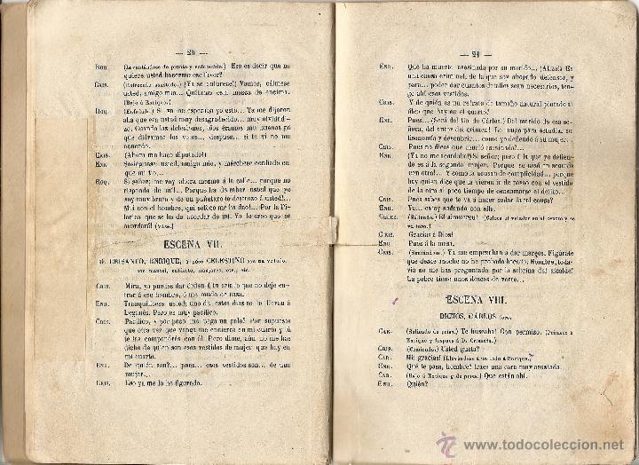 Libros antiguos: SALVARSE EN UNA TABLA - SALVADOR LASTRA - JUGUETE CÓMICO EN UN ACTO Y EN PROSA - AÑO 1880 - Foto 5 - 116206588