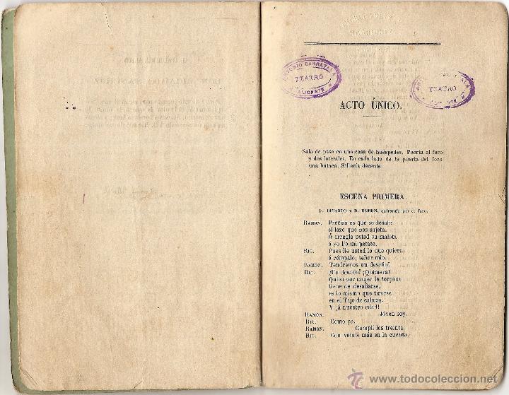 Libros antiguos: DON RICARDO Y DON RAMÓN - DE RAMÓN MEDEL - JUGUETE CÓMICO EN UN ACTO Y EN VERSO - AÑO 1869 - Foto 3 - 50361594