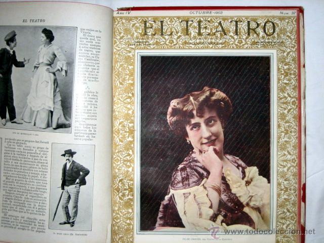 Libros antiguos: El Teatro, publicación mensual, año 1903, de enero a diciembre, encuadernados. - Foto 7 - 53872011