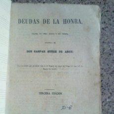 Libros antiguos: DEUDAS DE LA HONRA. DON GASPAR NÚÑEZ DE ARCE. Lote 54053803