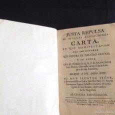 Libros antiguos: JUSTA REPULSA DE INIQUAS ACUSACIONES CARTA ,THEATRO CRITICO, BENITO GERONYMO FEYJOO, MADRID, 1749. Lote 55593676