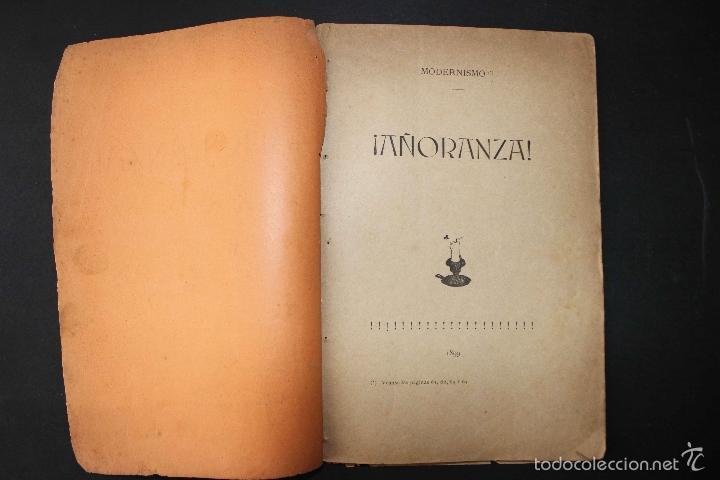Libros antiguos: ¡Añoranza! Comedia en tres actos. Modesto Urgell. Col. Escuela Modernista. 1899 Teatro raro único - Foto 2 - 58629795