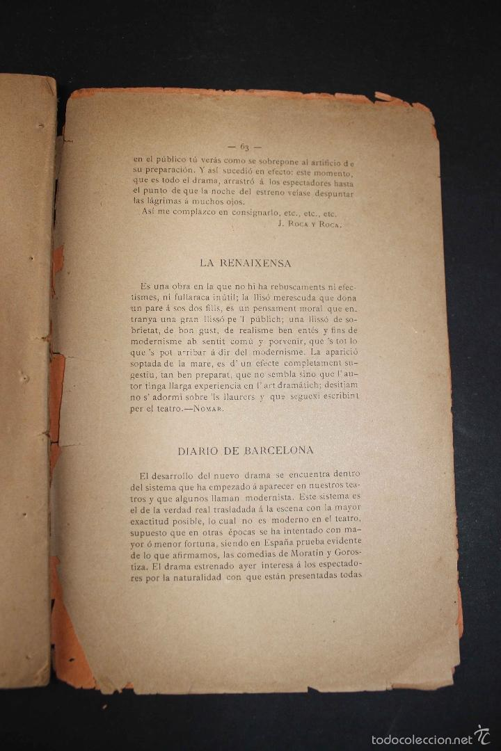 Libros antiguos: ¡Añoranza! Comedia en tres actos. Modesto Urgell. Col. Escuela Modernista. 1899 Teatro raro único - Foto 5 - 58629795