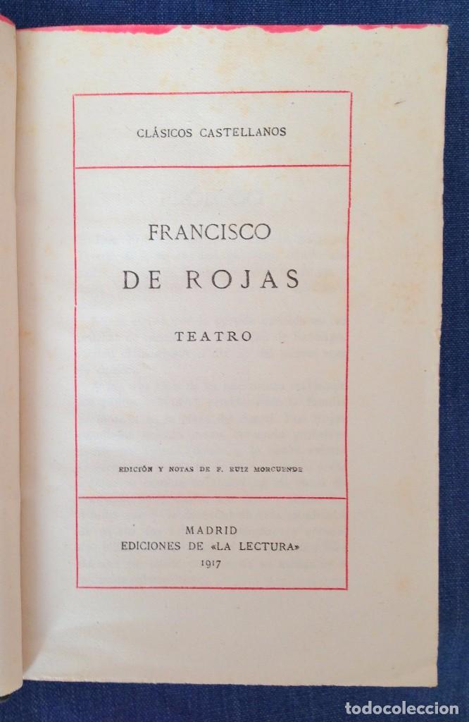 Libros antiguos: Teatro. Francisco de Rojas. Madrid 1917. - Foto 2 - 63669323