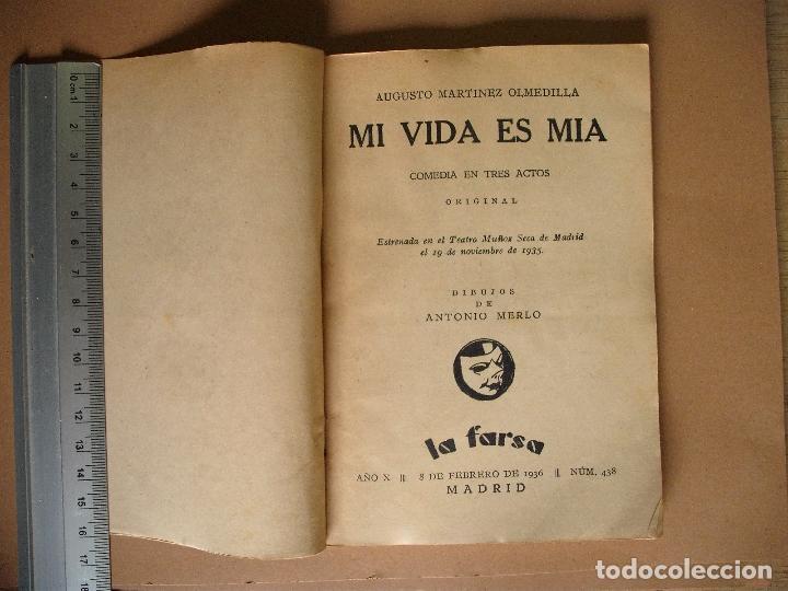 Libros antiguos: REVISTA SEMANA DE TEATRO LA FARSA-MI VIDA ES MIA - 8 - 2 - 1936 - Nº 438 - EDITORIAL ESTAMPA - Foto 2 - 67261277