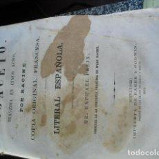 Libros antiguos: 1855 BAJACETO POR RACINE ED BILINGÜE EN NUEVA YORK DE BAKER& GODWIN. Lote 68018509