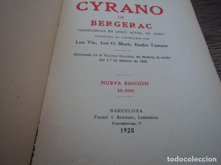 Libros antiguos: Cyrano de Bergerac (versión castellana) - Autor: Edmundo Rostand - Edita: Farré y Asensio - 1928 - Foto 3 - 79290253