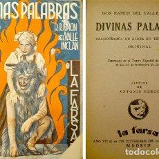 Libros antiguos: VALLE-INCLAN, RAMÓN MARÍA DEL. DIVINAS PALABRAS. 1933.. Lote 89141728
