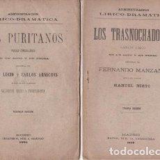 Libros antiguos: LUCIO Y ARNICHES: LOS PURITANOS. 1894 // MANZANO: LOS TRASNOCHADORES. 1899. 2 OBRAS DE TEATRO SXIX. Lote 90041220