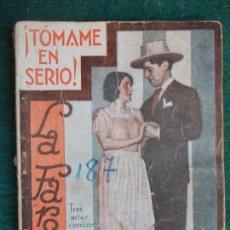 Libros antiguos: COLECCIÓN DE OBRAS DE TEATRO LA FARSA Nº187-TOMAME EN SERIO-ANTONIO PASO. Lote 91233155