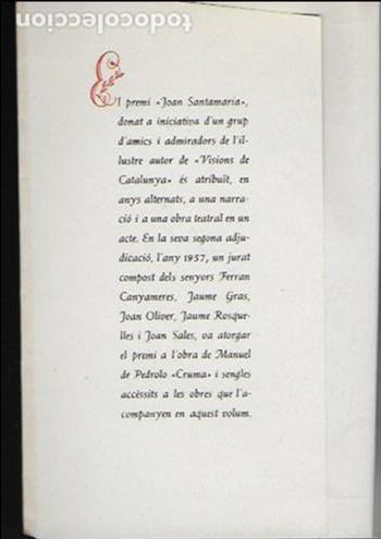 Libros antiguos: Cruma / M. de Pedrolo; Parasceve / Blai Bonet... BCN : Nereida, 1957 Ex. 64 de 200. 17x12cm. 107 p. - Foto 2 - 95232719