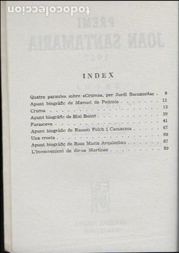 Libros antiguos: Cruma / M. de Pedrolo; Parasceve / Blai Bonet... BCN : Nereida, 1957 Ex. 64 de 200. 17x12cm. 107 p. - Foto 4 - 95232719