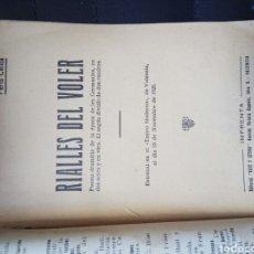Libros antiguos: RIALLES DEL VOLER. PERIS CELDA, J. ARTE Y LETRAS. 1928. Lote 95824720