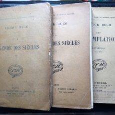 Libros antiguos: LOTE TRES LIBROS VÍCTOR HUGO // LÉGENDE DES SIÈCLES II - III Y LES CONTEMPLATIONS // CIRCA 1850. Lote 100594471