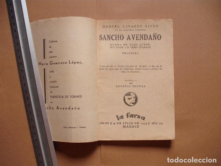 Libros antiguos: LA FARSA.SANCHO AVENDAÑO. Nº 305 .MANUEL LINARES RIVAS . AÑO 1933 - Foto 2 - 101185951