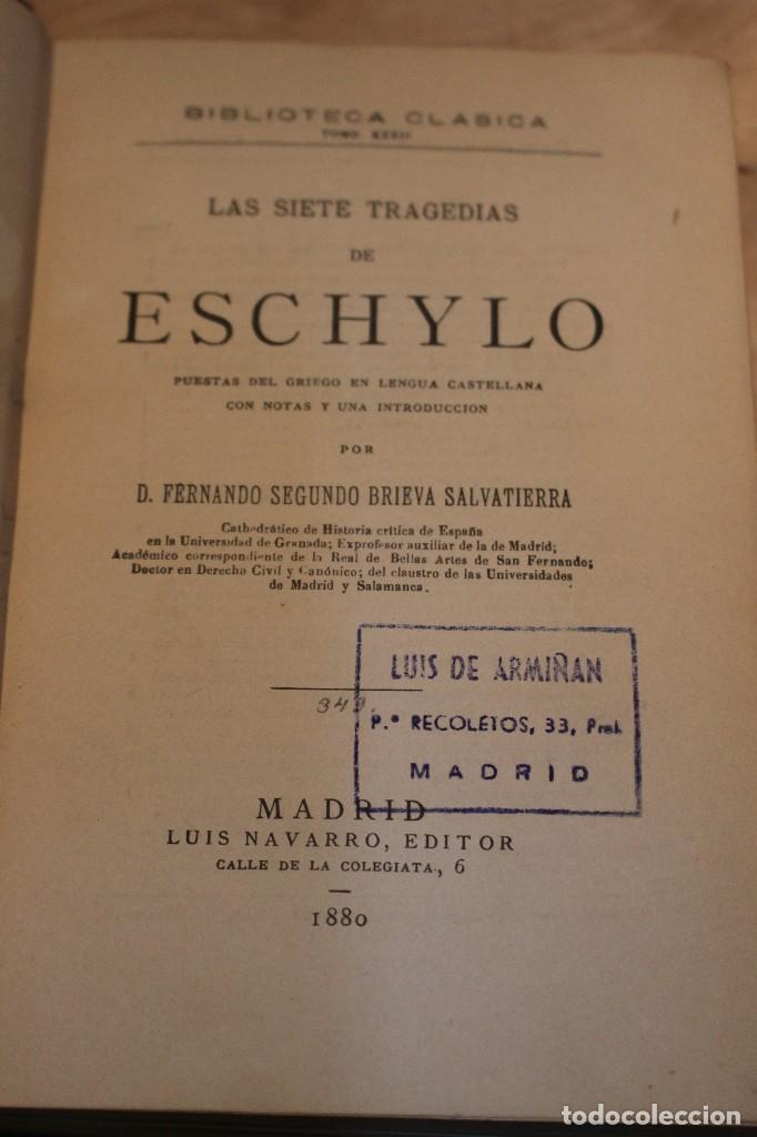 Libros antiguos: Las siete tragedias de Eschylo, 1880. 1º edición - Foto 3 - 101687055