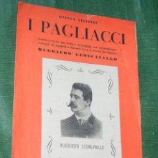 Libros antiguos: ARGUMENTO DE I PAGLIACCI DE LEONCAVALLO . Lote 104169043