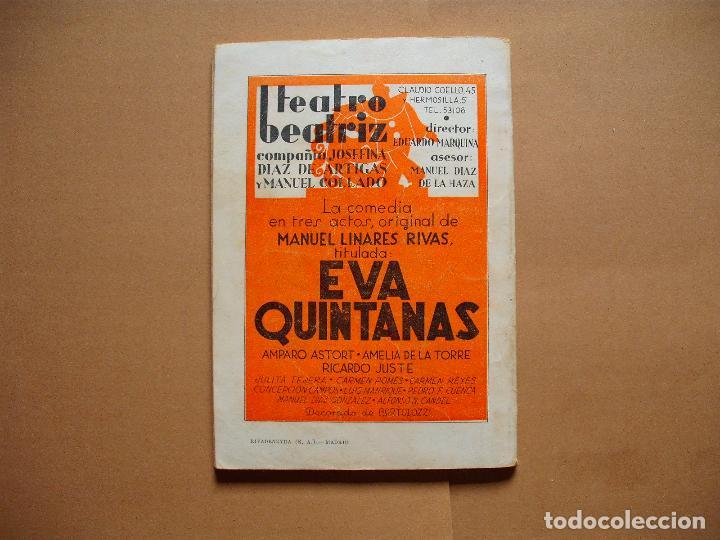 Libros antiguos: LA FARSA.EVA QUINTANAS. Nº 284 .MANUEL LINARES RIVAS . AÑO 1933 - Foto 3 - 105779131