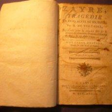 Libros antiguos: VOLTAIRE: - ZAYRE, TRAGEDIE EN CINQ ACTES ET EN VERS - (PARIS, 1773). Lote 106620715