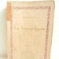 Libros antiguos: LA LOCANDIERA GOLDONI PRÓLOGO DE FERNANDO GONZALEZ COMEDIA. ED. COMP. IBEROAMERICANA MADRID. . Lote 107249071