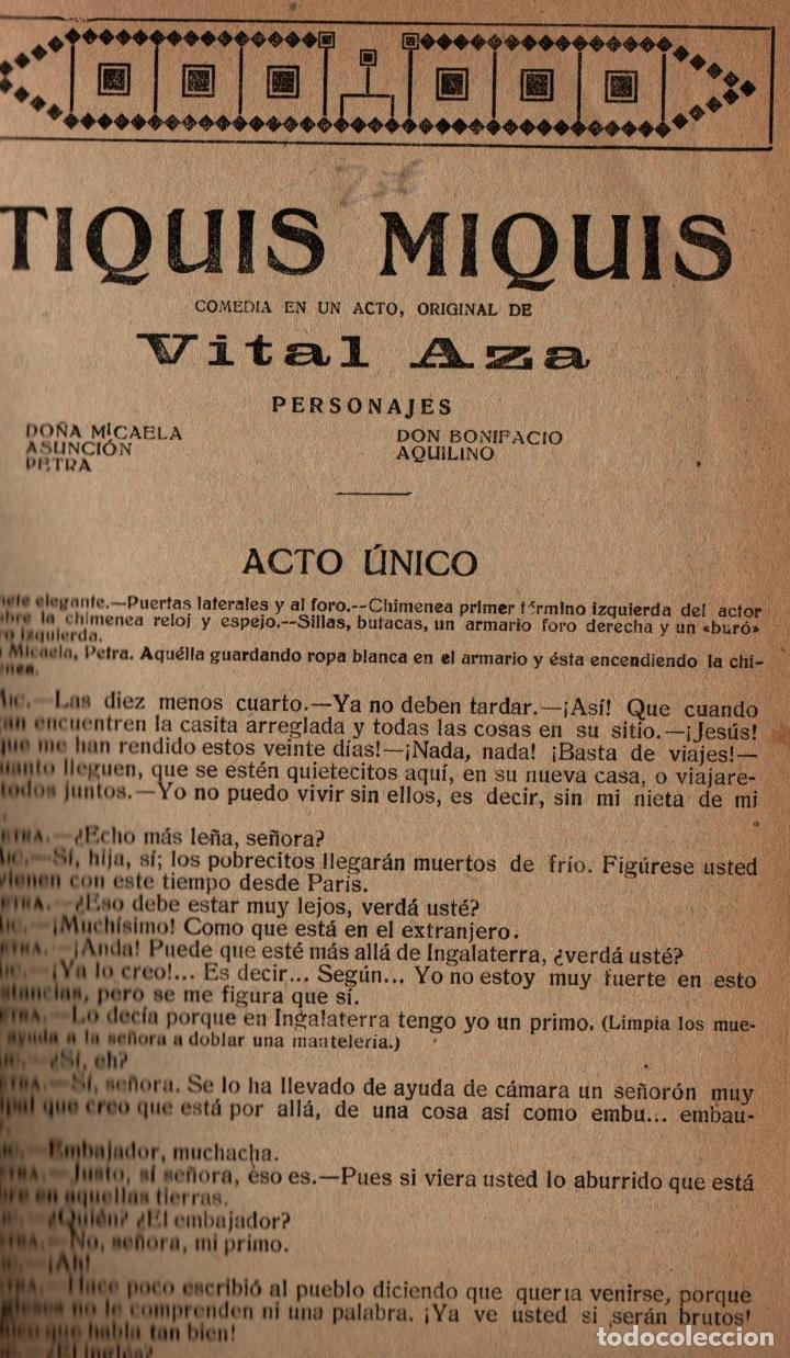 Libros antiguos: LA NOVELA TEATRAL. Nº 50. 25 NOV. 1917. TIQUIS MIQUIS DE VITAL AZA. - Foto 2 - 107689363