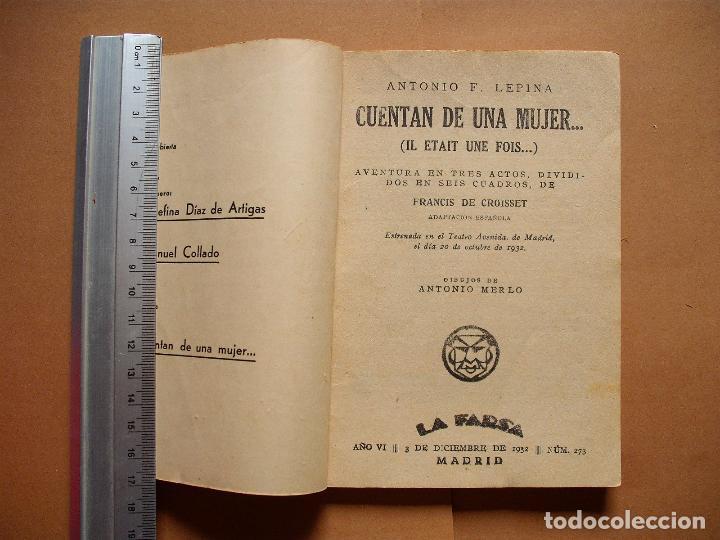 Libros antiguos: LA FARSA.CUENTAN DE UNA MUJER . 273 .ANTONIO F, LEPINA . AÑO 1932 - Foto 2 - 107773583