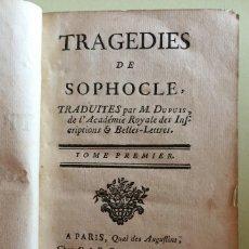 Libros antiguos: TRAGEDIES DE SOPHOCLE- SOFOCLES- TRAUDITES PAR M. DUPUIS- PARIS 1.761. Lote 108880651