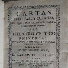 Libros antiguos: CARTAS ERUDITAS Y CURIOSAS, (BENITO G. FEYJOO) 1761 MADRID JOACHIN IBARRA. PERGAMINO. Lote 109148119