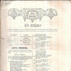 Libros antiguos: UN SUEGRO. D. LEANDRO TOMAS DE PASTOR Y D. IGNACIO VIRTO.BIBLIOTECA DRAMATICA 1858.. Lote 112610027