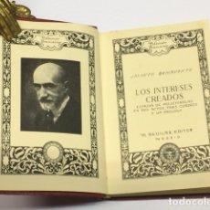 Libros antiguos: BENAVENTE, JACINTO. LOS INTERESES CREADOS. MADRID, AGUILAR, (C. 1935). COLECCIÓN BREVIARIOS (2).. Lote 78985130