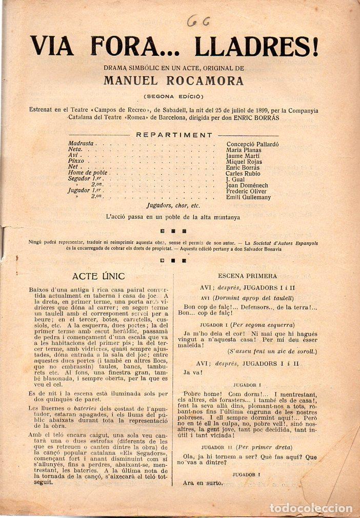 MANUEL ROCAMORA : VIA FORA, LLADRES / AYNÉ RABELL : RAFEL CASANOVA (ESCENA CATALANA, C. 1920) (Libros antiguos (hasta 1936), raros y curiosos - Literatura - Teatro)