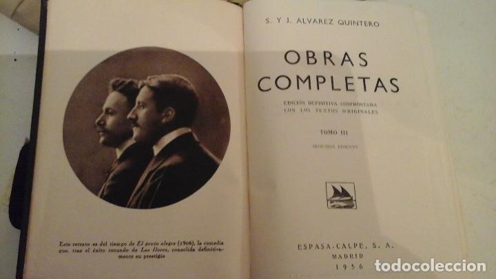 Libros antiguos: S y J Alvarez quintero . Obras completas , Espasa Calpe . 1956 - Foto 2 - 118033439