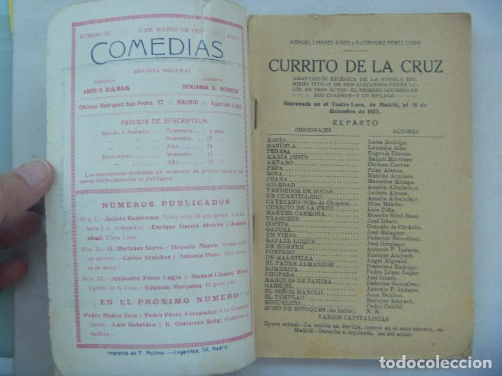 Libros antiguos: COMEDIAS : CURRITO DE LA CRUZ , DE PEREZ LUGIN Y LINARES RIVAS Y EL PAVO REAL, DE MARQUINA. 1926 - Foto 2 - 125562023