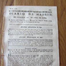 Libros antiguos: 1789-PERIÓDICO DIARIO DE MADRID.ORIGINAL.ECONOMIA CURIOSA EMBLANQUECER PAREDES Y QUE ARROJEN MAS LUZ. Lote 127997739