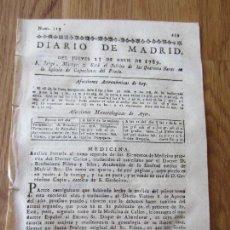 Libros antiguos: 1789-PERIÓDICO DIARIO DE MADRID.ORIGINAL.ANALISIS MEDICINA DOCTOR CULLEN.ODA DE GUERRERO POETAS. Lote 127997947