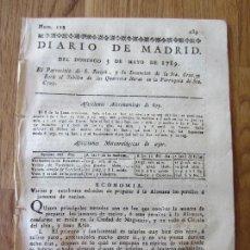 Libros antiguos: 1789-PERIÓDICO DIARIO MADRID.ORIGINAL.COCINA.PERNILES DE TOCINO A LA ALEMANA.SONETO SANTA CRUZ. Lote 240721190