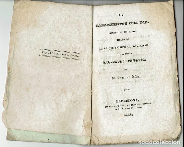 LOS CASAMIENTOS DEL DÍA, POR FRANCISCO ALTÉS. AÑO 1888. (5.6) (Libros antiguos (hasta 1936), raros y curiosos - Literatura - Teatro)