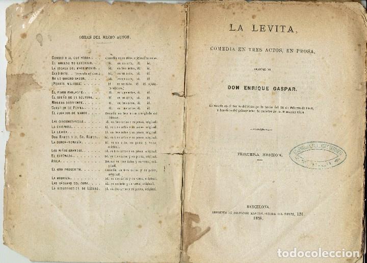 Libros antiguos: LA LEVITA, POR DON ENRIQUE GASPAR. AÑO 1878. (10.6) - Foto 2 - 133554874