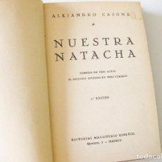 Libros antiguos: ALEJANDRO CASONA. NUESTRA NATACHA. MADRID 1936. SEGUNDA EDCICIÓN. ENCUADERNACIÓN CON CANTO DE PIEL.. Lote 133576454