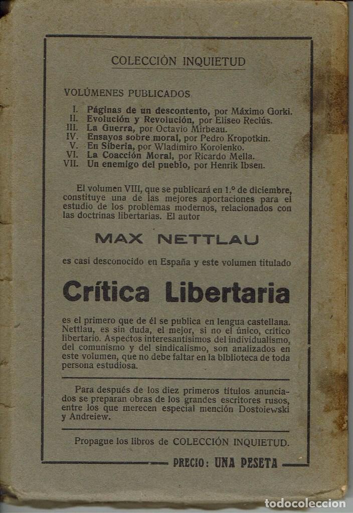 Libros antiguos: UN ENEMIGO DEL PUEBLO, POR HENRIK IBSEN. AÑO 1922. (5.6) - Foto 2 - 133834486