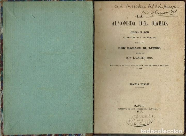 LA ALMONEDA DEL DIABLO, POR RAFAEL M. LIERN. AÑO 1876. (2.7) (Libros antiguos (hasta 1936), raros y curiosos - Literatura - Teatro)