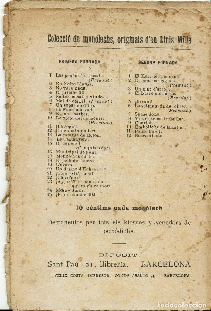 Libros antiguos: UN SOPAR DE DURO, PER LLUÍS MILLA. AÑO ¿? (3/7) - Foto 3 - 134293798